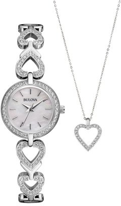 Bulova Women's Crystal Stainless Steel Watch & Heart Pendant Necklace Set