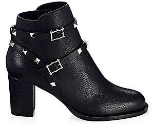 Valentino Women's Rockstud Pebbled Leather Ankle Boots