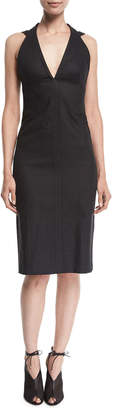 Narciso Rodriguez Sleeveless V-Neck Denim Pencil Dress