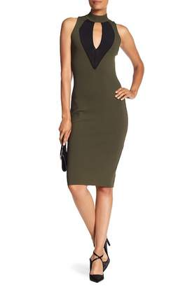 Rachel Roy High Neck Side Lace-Up Front Mesh Dress