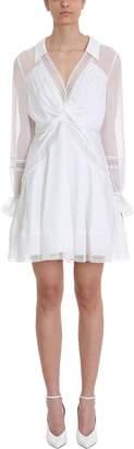 Self-Portrait Self Portrait Twist Front Ivory Mini Dress