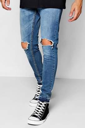 boohoo Blue Wash Skinny Fit Distressed Jeans