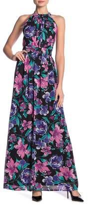 Nine West DRESS Printed Pleated Bodice Maxi Dress