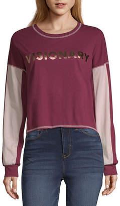 Flirtitude Long Sleeve Round Neck T-Shirt-Womens Juniors
