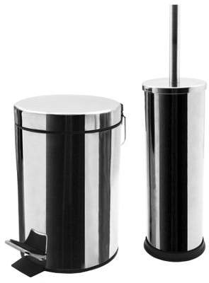At F Clothing Harbour Housewares Bathroom Pedal Bin And Toilet Brush Set 3 Litre Chrome Finish