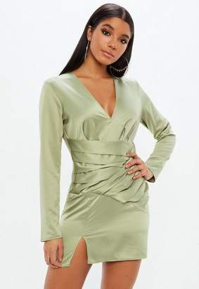 Missguided Green Silky Paneled Long Sleeve Shift Dress