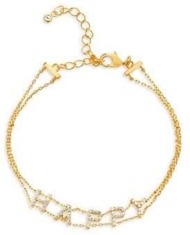 Lord & Taylor Crystal Happy Double-Strand Bracelet