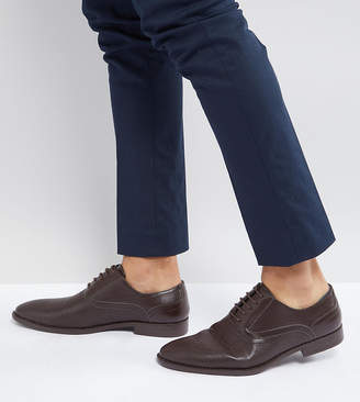 Asos Design Wide Fit Oxford Shoes In Brown Faux Leather With Emboss Detail