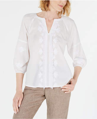Charter Club Cotton Embroidered Fringe-Trim Top