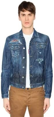 DSQUARED2 Cotton Denim Jacket W/ Liberty Patches