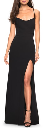 La Femme Sweetheart Neck Jersey Evening Dress