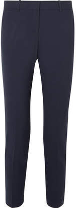 Theory Testra Wool-blend Crepe Slim-leg Pants - Midnight blue