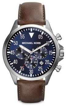 Michael Kors Gage Stainless Steel and Leather Chronograph Strap Watch
