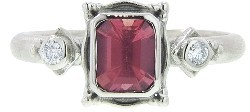 Megan Thorne Picture Frame Ring in White Gold - Pink Sapphire
