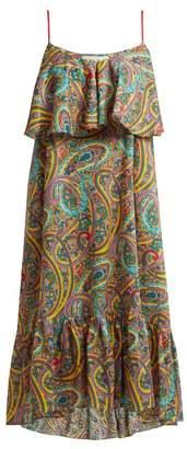 Etro Paisley Print Tiered Cotton Dress - Womens - Yellow Multi