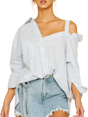 STYLEKEEPERS Cruise Off-the-Shoulder Button-Down Striped Top