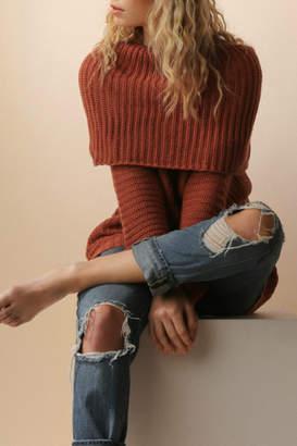 Umgee USA Ribbed folded over sweater