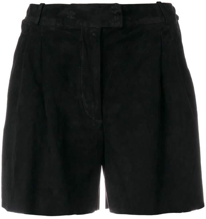 Salvatore Santoro Wildleder-Shorts mit Bundfalten