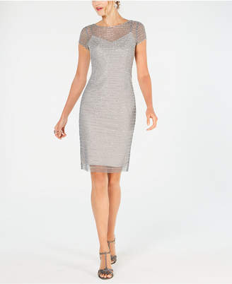 Adrianna Papell Petite Beaded Short Sheath Dress