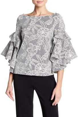 Badgley Mischka Embroidered Ruffle Sleeve Top