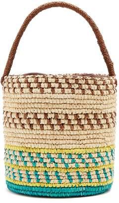 SENSI STUDIO Striped toquilla-straw basket bag