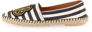 Marc by Marc Jacobs Clubs Striped Canvas Espadrille Flat, Black/White