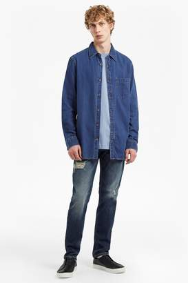 French Connenction Dobby Denim Longline Shirt
