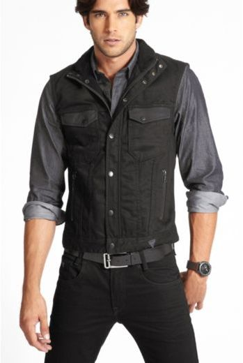 GUESS Black Denim Vest