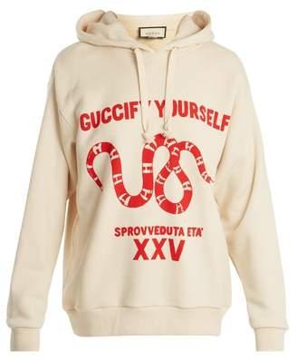 Gucci Snake Print Cotton Jersey Hooded Sweatshirt - Womens - Ivory Multi