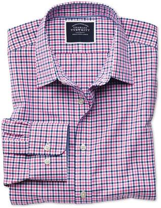 Charles Tyrwhitt Extra Slim Fit Non-Iron Pink and Navy Gingham Oxford Cotton Casual Shirt Single Cuff Size XS