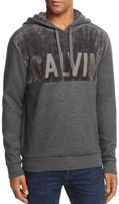 Calvin Klein Logo Plush Hooded Sweatshirt