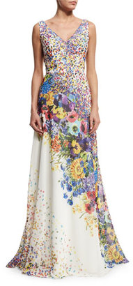 David Meister Sleeveless Floral-Print Gown $795 thestylecure.com