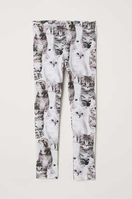 H&M Patterned Jersey Leggings - Gray