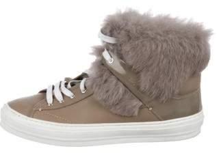 Salvatore Ferragamo Fur-Trimmed Leather Sneakers