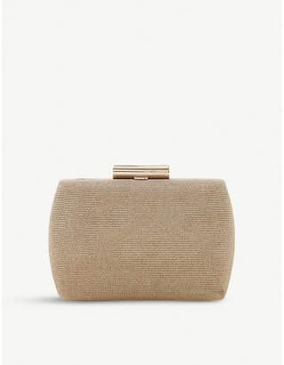 Dune Gold Brights Metallic Hard Case Leather Clutch Bag