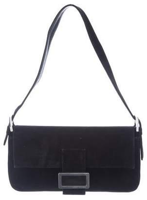 Stuart Weitzman Suede & Leather Flap Shoulder Bag