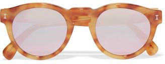 Leonard Round-frame Tortoiseshell Acetate Mirrored Sunglasses - Brown