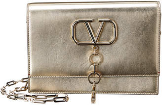 Valentino V-Case Small Metallic Leather Clutch