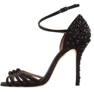 Oscar de la Renta Jewel-Embellished Satin Sandals