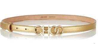 Jimmy Choo CHOO BELT Metallic Gold Nappa Leather Belt with Choo Logo