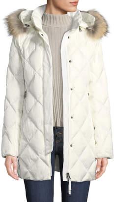 Bogner Irina Diamond-Quilted Coat w/ Removable Hood & Fur Trim