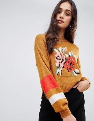 Miss Selfridge sweater with floral motif in ochre