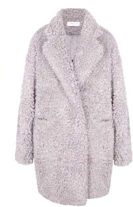 PAISIE - Fluffy Teddy Bear Coat in Lilac