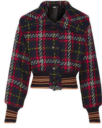 Cropped Houndstooth Wool-tweed Bomber Jacket - Black