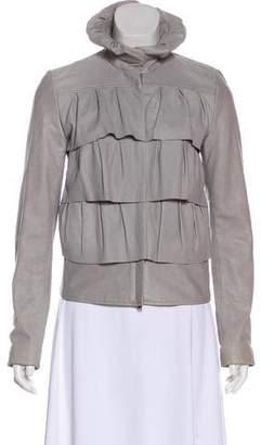 Diane von Furstenberg Leather Cupcake Bomber Jacket