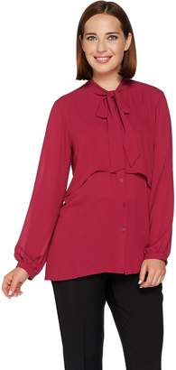 Joan Rivers Classics Collection Joan Rivers Layered Blouse with Tie Neck