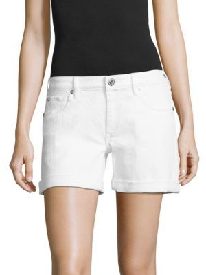 True Religion Emma Cuffed Denim Bermuda Shorts $149 thestylecure.com