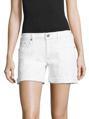 True Religion Emma Cuffed Denim Bermuda Shorts $149 thestylecure.com