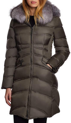 Dawn Levy Chloe Fox-Fur Trim Corset Puffer Jacket