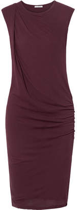 James Perse Nomad Draped Cotton-jersey Dress - Burgundy
